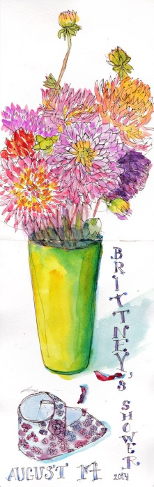 """Shower Flowers Sketch: Dahlias, ink and watercolor 2-page spread in Moleskine 16x5"""""""