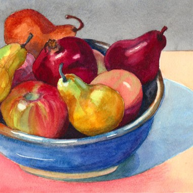 Watercolor Fruit Bowl