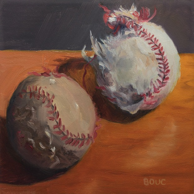 Dirty Ball, oil on Gessobord, 8x8 in