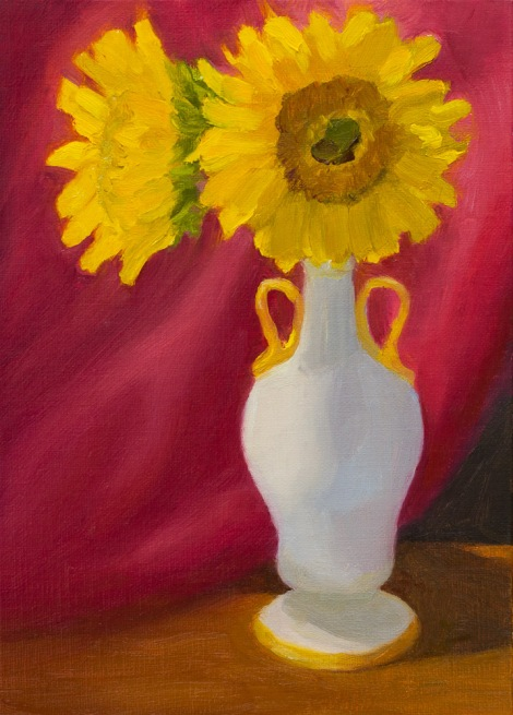 Two Survivors, oil painting of sunflowers and white vase on linen panel, 7x5 in