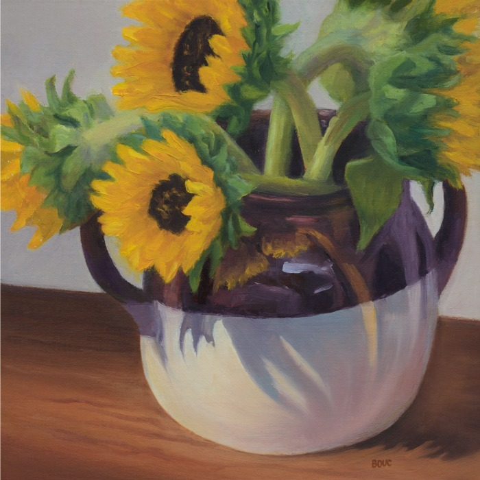Sunflowers in Found Crock, oil on linen panel, 8x8 in