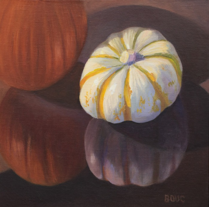 Pumpkin and Gourd on Glass, oil painting on linen panel, 10x10 in