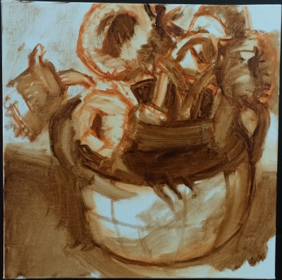Session 1: Drawing, value block-in with burnt umber