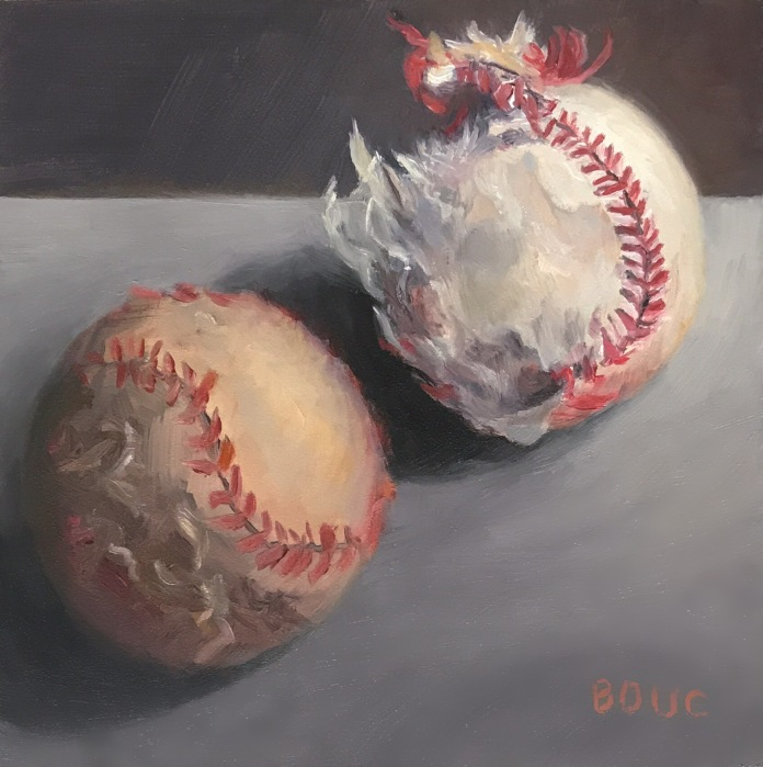 Playing Dirty Ball, oil on Gessobord, 8x8 in