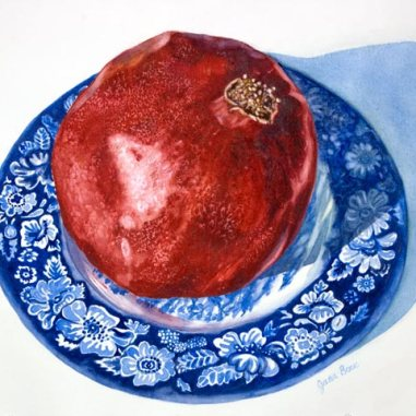 Sold. Pomegranate on Blue