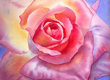 Pink Rose, Watercolor