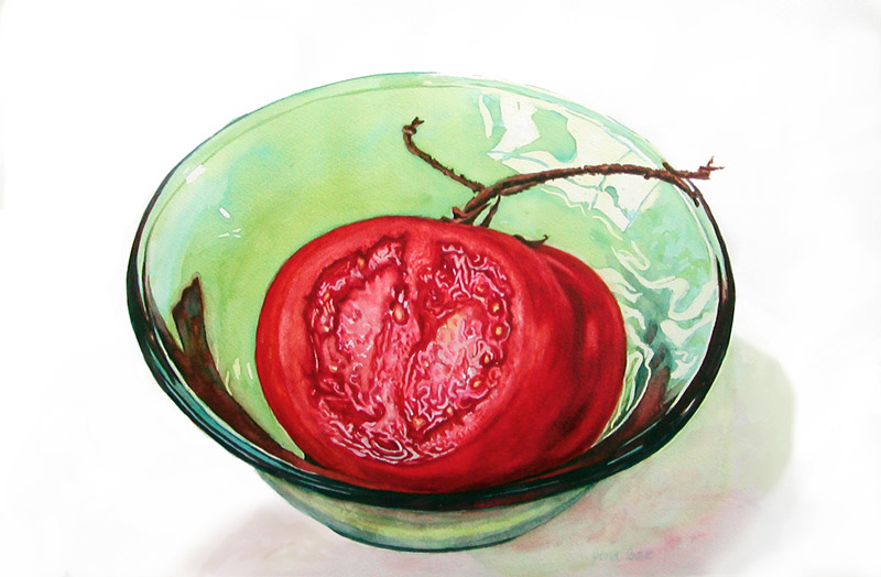 Tomato in Green Glass Bowl