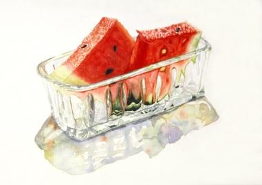 Watermelon in Grandma's Butter Dish (Private Collection)