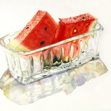 Watermelon in Grandma's Butter Dish (Private Collection)
