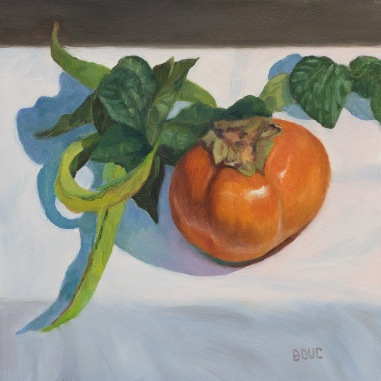 Persimmon and String Beans, oil on panel, 6x6 inches