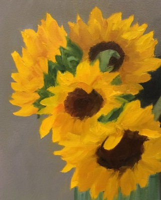 Sunflowers in Spaghetti Jar, oi studyl on Arches Oil Paper , 8x10 inches