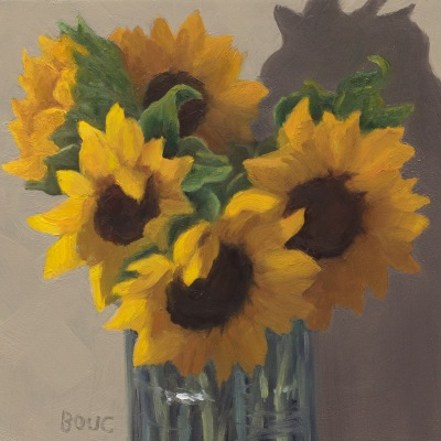 Sunflower in Spahetti Jar, oil on panel, 6x6 inches