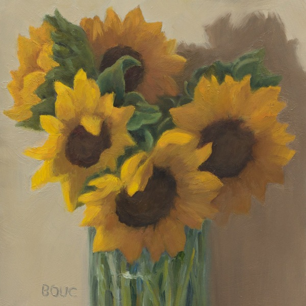 Sunflowers in Spaghetti Jar, oil on panel, 6x6 inches
