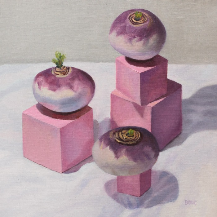 Montessori Pink Tower and Turnips, oil on linen panel, 10x10 inches