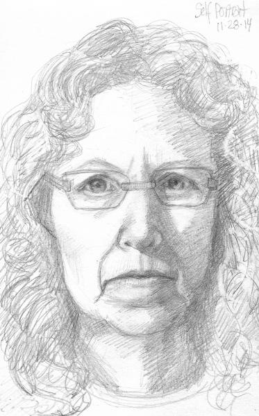 "End of Journal Self Portrait, graphite, 8x5"""
