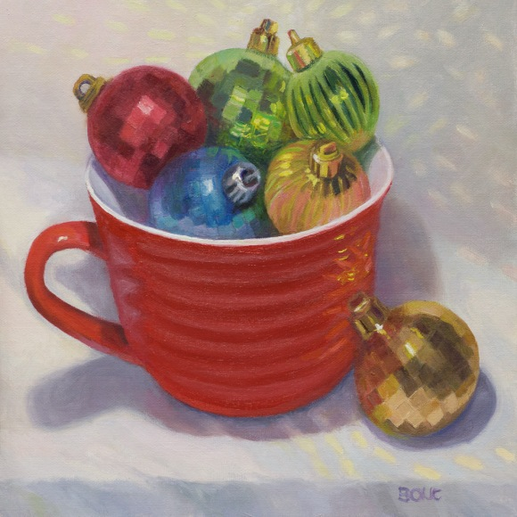 Christmas Balls in Red Cup, oil on panel, 8x8 inches