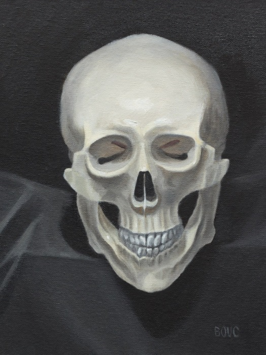 Morton Skullman the Man Skull, oil on panel, 12x9""