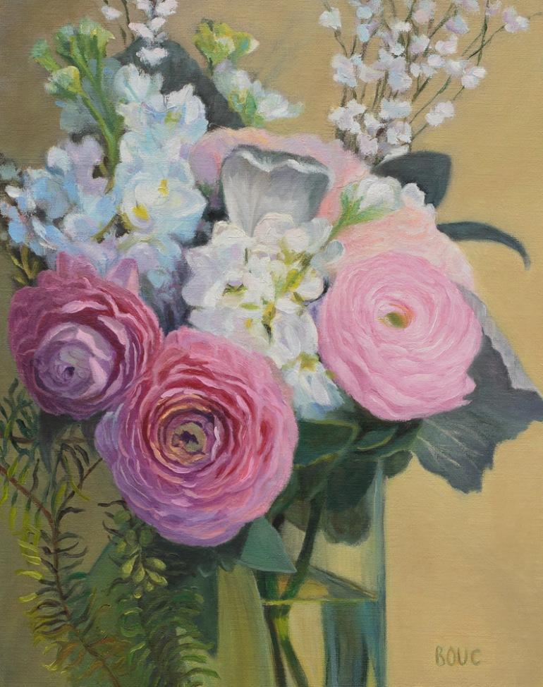 "Wedding Bouquet, oil on linen panel, 10x8"""