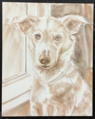 Millie-Drawing transferred (using Saral Transfer paper) and Pan Pastels applied