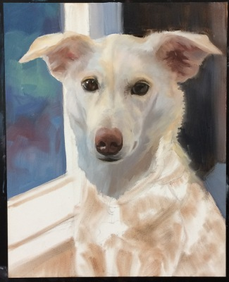 Millie-Painting blocked in and first layer started.