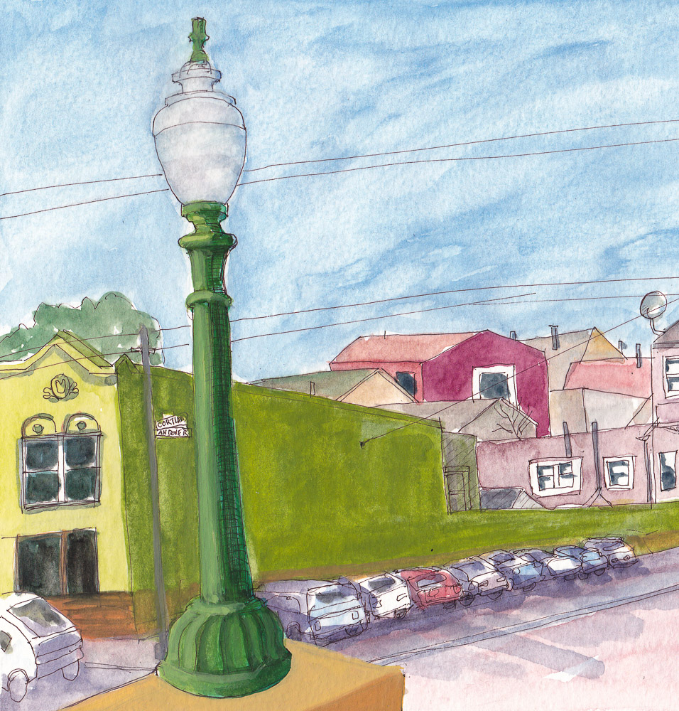 SF Bernal Heights Sketchcrawl (crop 1) ink and watercolor in XL WC Moleskine