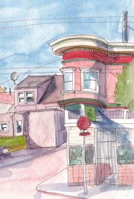 SF Bernal Heights Sketchcrawl (crop2) ink and watercolor in XL WC Moleskine