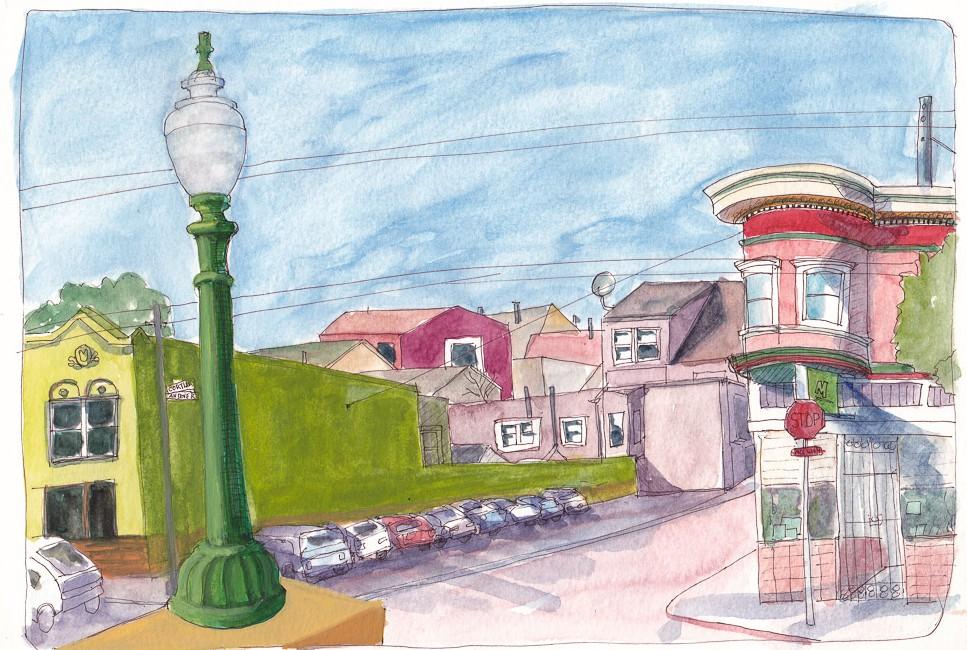SF Bernal Heights Sketchcrawl, ink, watercolor, gouache in XL WC Moleskine