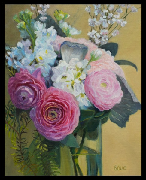 Wedding Bouquet (Fixed), oil on panel, 10x8""