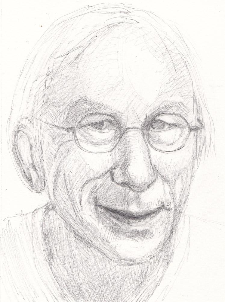 "Sketch of Jan Jaap for Julia Kaye's Portrait Party, graphite, 9x6.5"""