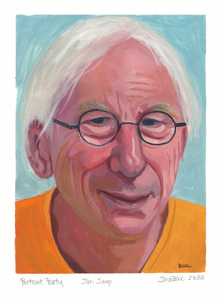 """Portrait of Jan Jaap for Julia Kaye's Portrait Party, gouache in XL WC Moleskine, 9x6.5"""""""