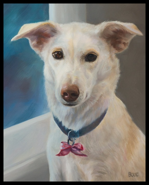 Portrait of Millie, oil on Gessobord panel, 10x8 inches
