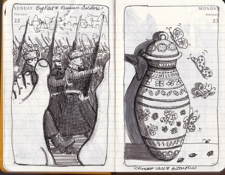 Russian soldiers marching and big feet. Chinese vase with butterflies and lady bugs.