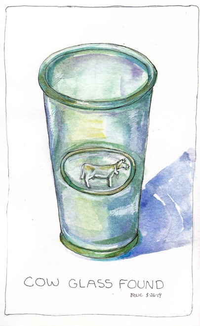Cow Glass Found, ink and watercolor, 7x5 in