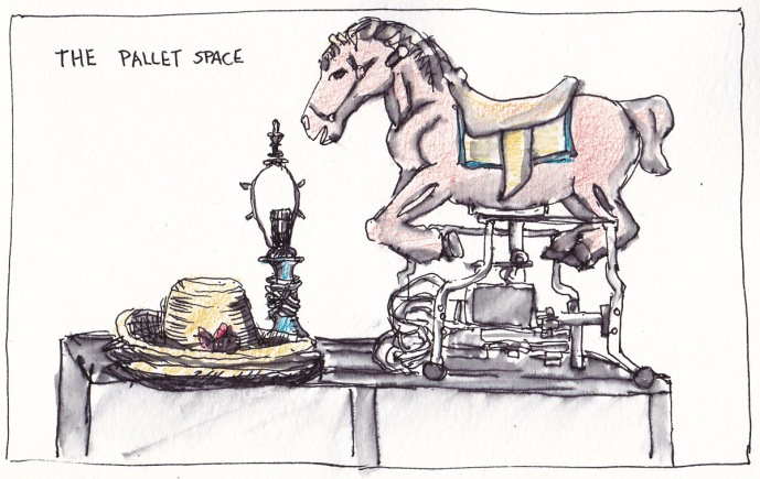 Rocking Horse and Junk at Pallet Space, ink and colored pencil, 5x8 in