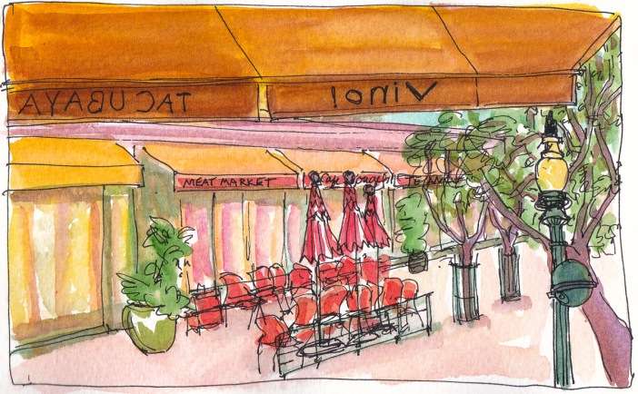 Tacubaya Awning and 4th Street Berkeley, ink and watercolor, 5x8 in