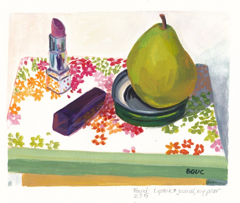 Found Lipstick, Journal and Pear, gouache, 8x6.5""