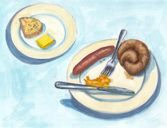 "Susan's Dinner at Gaumenkitzel, graphite and gouache, 7x9.25"""