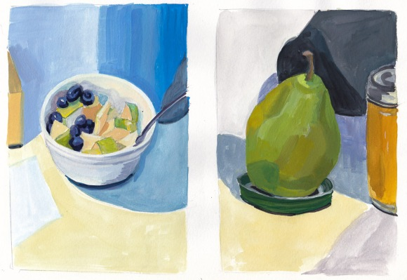 Gouache still life studies, 10x8 inches