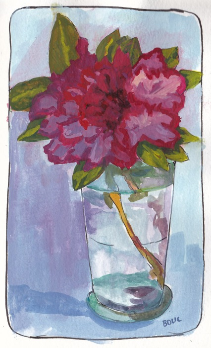 Azalea in Gouache, 7x5 x 5.5 inches