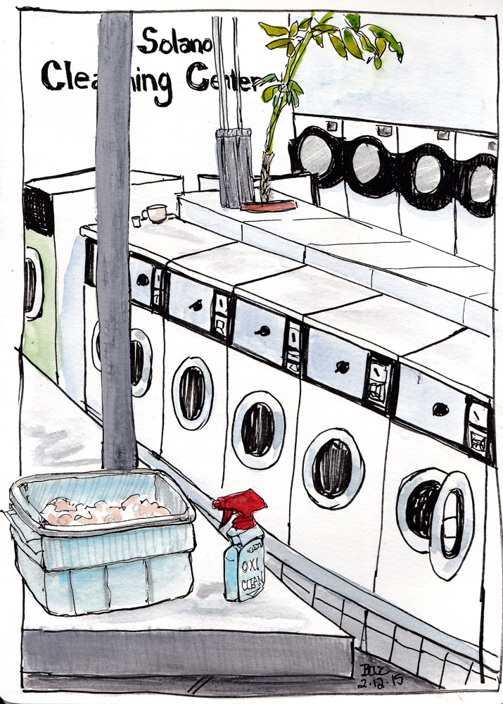 Solano Laundromat, ink and watercolor 10x8 in