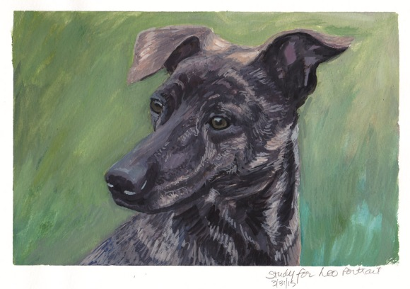 Study for Leo Dog Portrait, gouache on paper, 8x10 in