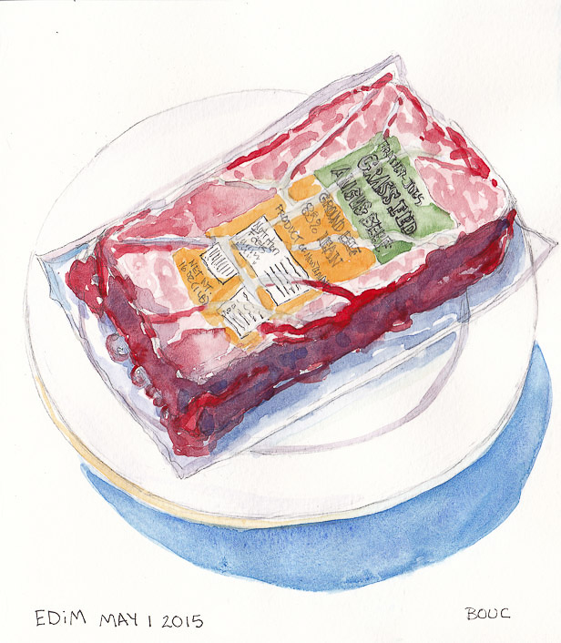 EDiM 1: Food Food: Defrosting Burger, graphite and watercolor, 8x7.25 in