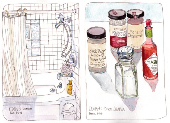 Every Day in May 3-4: Curtain and Spice Bottles, ink and watercolor, 8x10 in