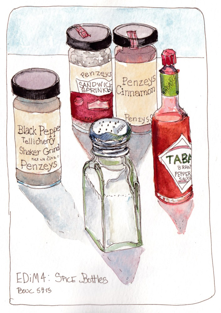 Every Day in May 4: Spice Bottles, ink and watercolor, 8x5 in