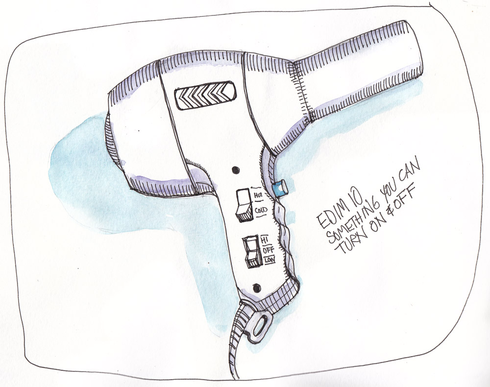 EDIM 10-On/Off Switch (Hairdryer), ink and watercolor, 8x10 in