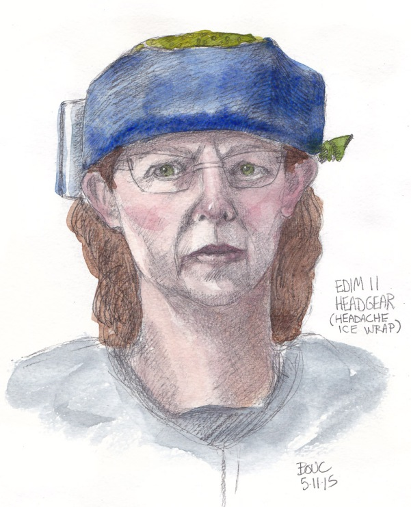 EDIM 11 Headgear (Migraine Ice Pack Wrap) graphite and watercolor, 10x7 in