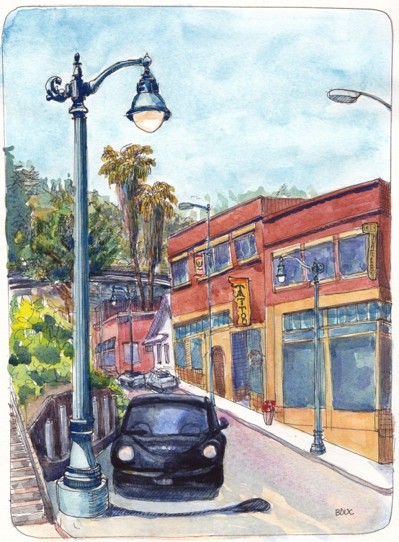 Crockett Main Street, ink and watercolor, 10x8 in