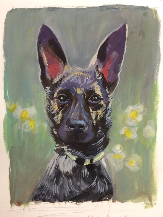 Mika, initial gouache sketch in journal, 10x8 in