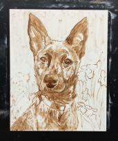 Mika, initial burnt umber sketch on panel