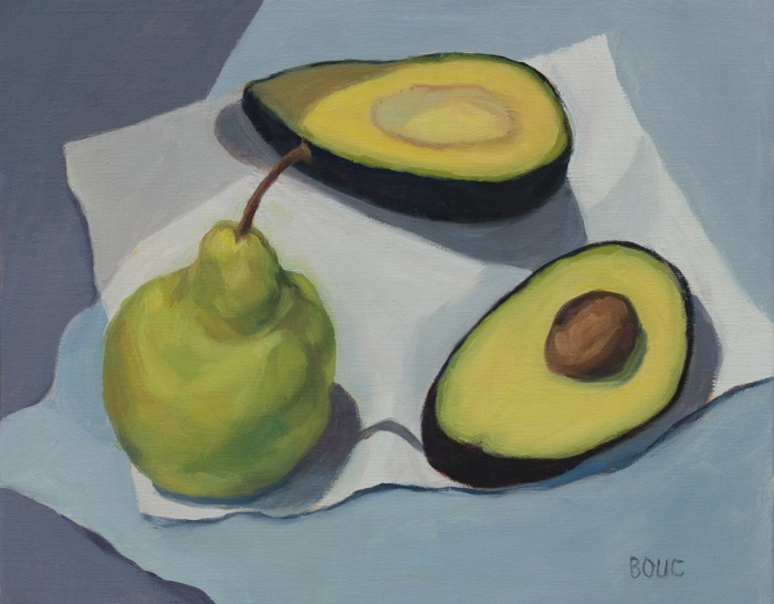 Avocado and Pear, oil on panel, 10x8""